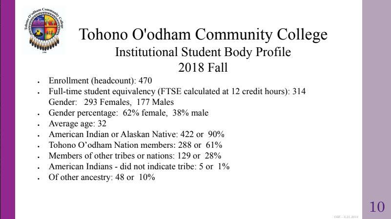 TOCC Student Body Profile Slide 10