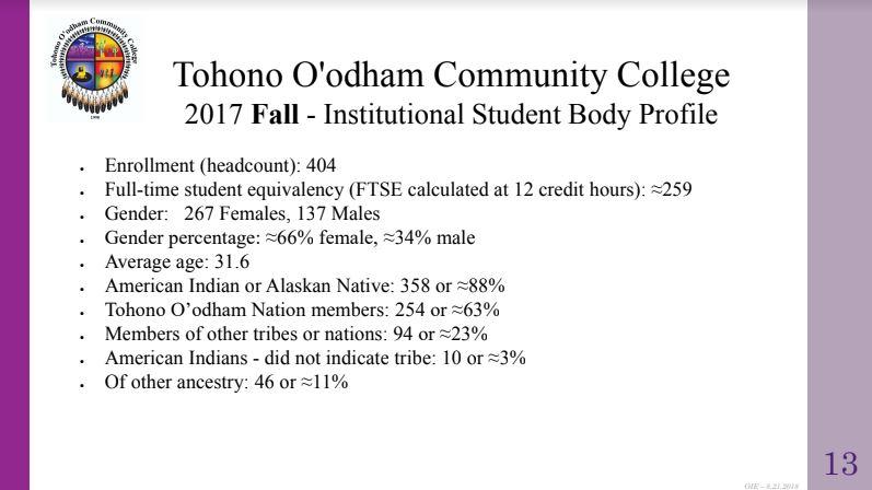 TOCC Student Body Profile Slide 13
