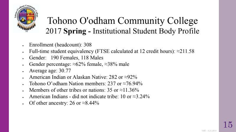 TOCC Student Body Profile Slide 15